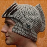 Men's Knight Helmet Hat Knitted Hat Winter Hat Wool Cap Grey