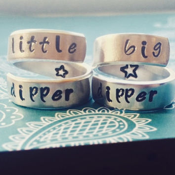little dipper baby dipper mom -daughter, sisters, friends, cousins, two aluminum spiral style  rings 1/4 inch star stamped on the inside