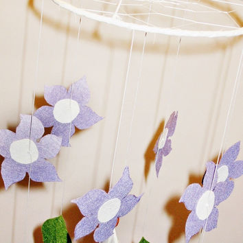 Dreamcatcher, nursery mobile, white, purple, spring dream catcher, flowers, white feather, hanging, for baby