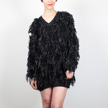 Vintage 80s FRINGE Sweater Black Gold Metallic Fringed Shaggy Furry Pullover Oversized Sweater 1980s New Wave Jumper M L Extra Large XL