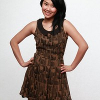 Yumi City Print Dress - Coffee