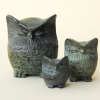 Bronze Owl Verdigris Greek Sculpture - Family set three