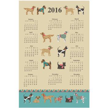 Hound Dog Cotton Tea Towel Calendar 2016