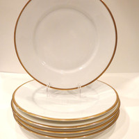 Hutschenreuther Norfolk Gold-Rimmed Dinner Plates-Set of Five-Bavaria