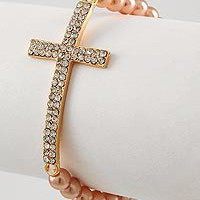 Rose Gold Side Cross Bracelet, Stretch | StyleSays