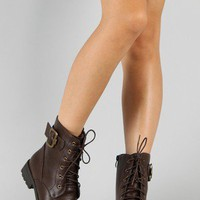 Rio-3 Lace Up Round Toe Military Ankle Bootie