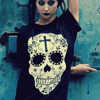 Sugar Skull Print Silver Stud Cross Black T-shirt