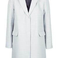 Textured Throw-On Coat - Pale Blue