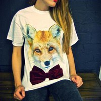 Fox Deep Red Velvet Bow White T-shirt