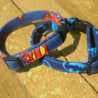 Batman and Superman Cat Collar Combo