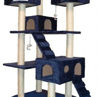GoPetClub Cat Tree Condo Scratcher Post Pet Bed Furniture F2040-Blue $79.99