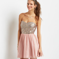 Aeropostale  Strapless Sequin SplashTulle Dress