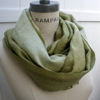 Pashmina Infinity Scarf FREE Shipping Olive Green Pashmina Scarf Neckwarmer Autumn Fall Fashion Best Friend Gifts - By PIYOYO