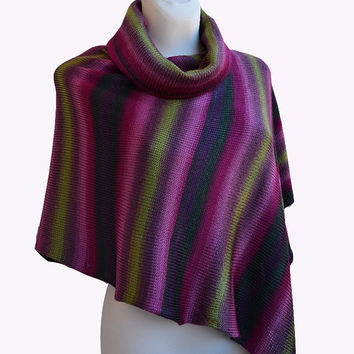Multicolor Cowl Neckwarmer Poncho  winter clothing women stylish cozy comfort  Accessories Autumn size S / M