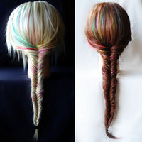 "RESERVED - Fishtail Braid Extensions - Rainbow Pastel / Human Hair Set / Turquoise Purple Pink Yellow Green / Long Colored / 16"" - 18"" long"