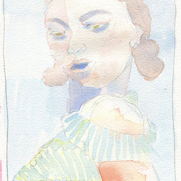 Original Watercolour Painting Girl with Dress