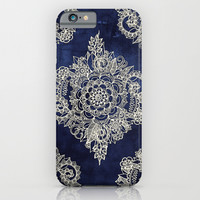 Cream Floral Moroccan Pattern on Deep Indigo Ink iPhone & iPod Case by Micklyn