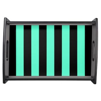 Mint and Black Stripes - Serving Tray