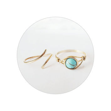 Turquoise ring and Adjustable Wrap Band Ring Set - unique rings