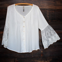 crochet lace bell sleeve button up top - white