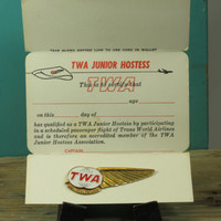 TWA Metal Junior Hostess Pin on Original Card Vintage Airline Wings Trans World Airlines