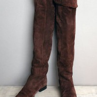 1980's Saks Fifth Ave. Brown Suede Over The Knee Riding Boots-8 Women's Vintage Boots 80's 70's
