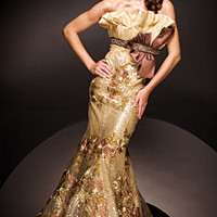Tony Bowls Gold Ruffle Mermaid Gowns