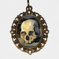 Skull Necklace, Skull Jewelry, Horror Necklace, Gothic Jewelry, Oval Pendant