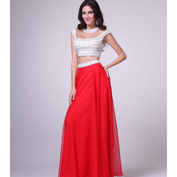 Preorder -  Red & White Grecian Two Piece Dress 2015 Prom Dresses