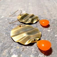 BUBBLE - earrings, orange jade