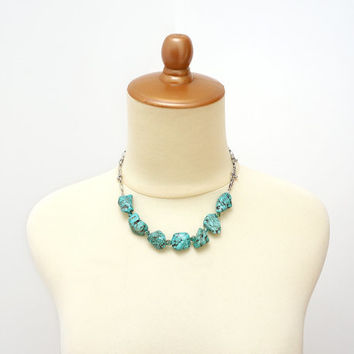 Turquoise Nugget Stone Statement Necklace, Green Matrix Genuine Turquoise Jewelry