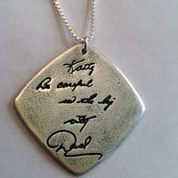 Memorial Jewelry Your Actual Loved Ones Writing Silver Pendant - Doublesided