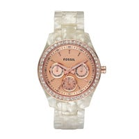 FOSSIL  : Stella Resin Watch - Pearlized White with Rose ES2887