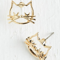 ModCloth Quirky Came as a Cat Earrings