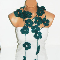 Hand made crochet oil blue Flower Lariat Scarf. Fashion Flower Scarves, Necklace...