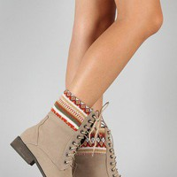 Jimmy-2 Tribal Print Lace Up Round Toe Boot