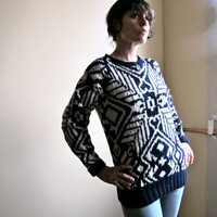 Vintage Navy & Cream Wool Ethnic Print Sweater by GinnyandHarriot