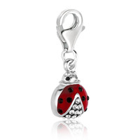 Sterling Silver Ladybug Charm with White Tone Crystal Accents
