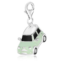 Sterling Silver White Tone Enameled Car Charm