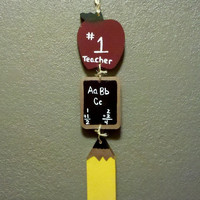 Wooden Teacher Apple chalkboard pencil sign