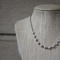 Oxidized Freshwater Pearl Necklace - Rustic Pearl Necklace - Oxidized Sterling Silver