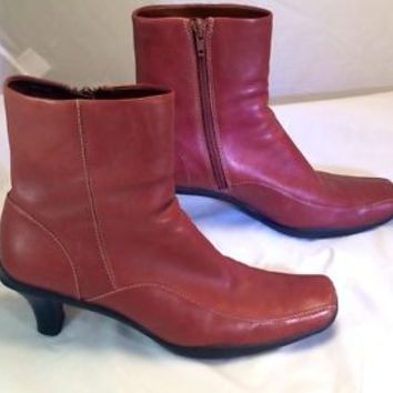 Womens Reaction Kenneth Cole Brown Leather Walkie Talkie Ankle Boots Heel Shoe 7