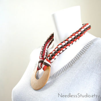 woven jersey necklace - southwestern colors - red & burnt orange braided statement necklace w/large pendant - ready made by Needless Studio