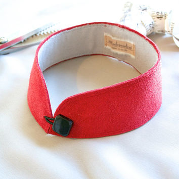 red leather collar -  leather choker w/button closure - mandarin detached collar - leather collar bdsm - ready made by Needless Studio