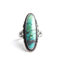 Vintage Sterling Silver Turquoise Ring - Size 7 Native American Jewelry / Blue Bliss