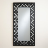 Black Geometric Carved Malika Mirror