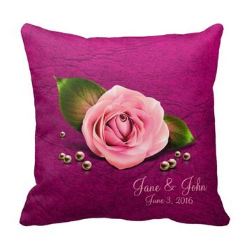 Pretty Pink Rose and Pearls Design Throw Pillow