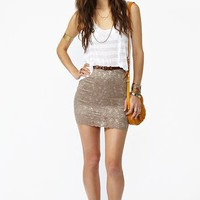 Scalloped Lace Skirt - Mocha