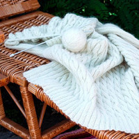 White ivory aran blanket handknit afghan by Muza on Etsy