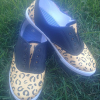 Custom Painted Animal Print  Canvas Vans